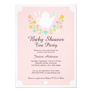 Sweet TeaPot Pink Floral Baby Shower 5.5x7.5 Paper Invitation Card