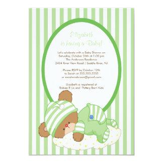 Sweet Teddy Bear Baby Shower Invitation Green