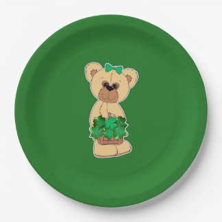 Sweet Teddy Bear St.Patrick's Day Paper Plates