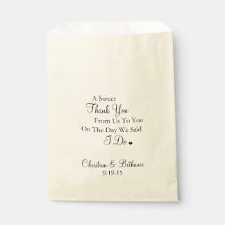 Sweet Thank You Black and Ivory Wedding Favour Bags