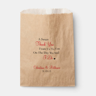 Sweet Thank You Black and Red Wedding Favour Bag