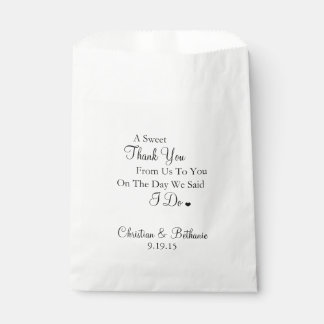 Sweet Thank You Black and White Wedding Favour Bag