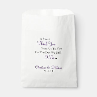 Sweet Thank You Personalised Dark Purple Wedding Favour Bags