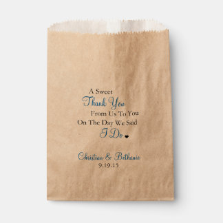 Sweet Thank You Personalised Royal Blue Wedding Favour Bag