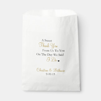 Sweet Thank You Personalized Black & Gold Wedding Favour Bag