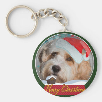 Sweet Tibetan Terrier Santa Collection Basic Round Button Key Ring
