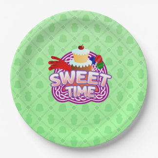 Sweet Time green Paper Plates
