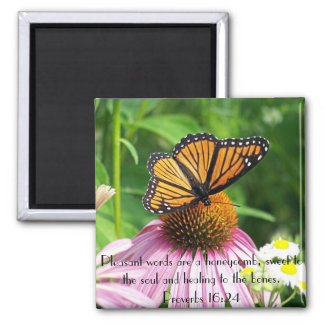 Sweet to the soul bible verse butterfly flower square magnet