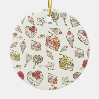 Sweet Tooth Quirky Treats pattern. Round Ceramic Decoration