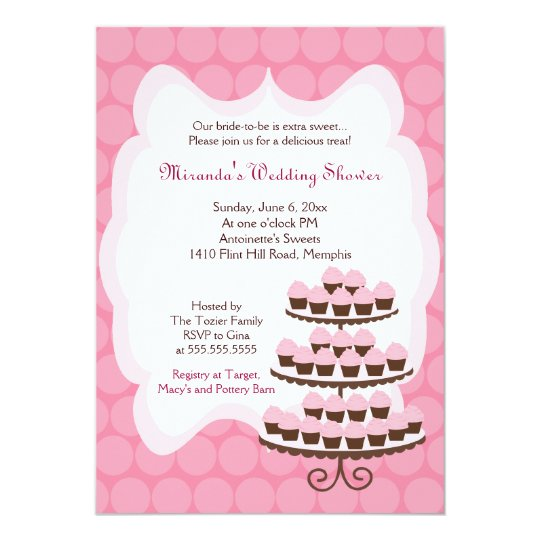 Sweet Treat Cupcake Bridal Shower 5x7 Card
