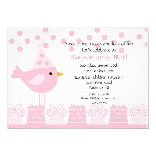 Sweet Treats Birdie Birthday Invitation