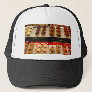 Sweet treats on display minus one trucker hat