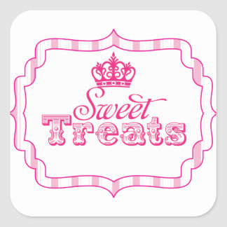 Sweet Treats Princess Party Favour Birthday Square Sticker