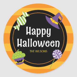 Sweet Trick or Treat Happy Halloween Party Classic Round Sticker