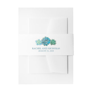 Sweet Trio Succulents Watercolor | Wedding Invitation Belly Band