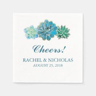Sweet Trio Succulents Watercolor | Wedding Paper Napkins
