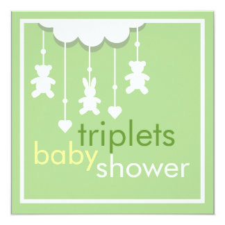 Sweet Triplets Green Mobile Baby Shower Invitation