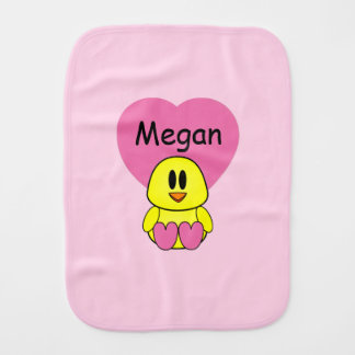 Sweet Tweetheart Heart Chick Baby Custom Cloth Baby Burp Cloths