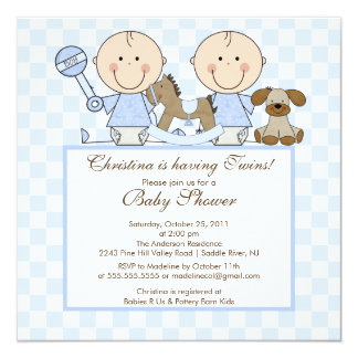 Sweet Twin Boys Twins Baby Shower Invitation