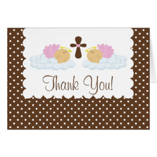 Sweet Twin Girls Baptism Thank You Note Card