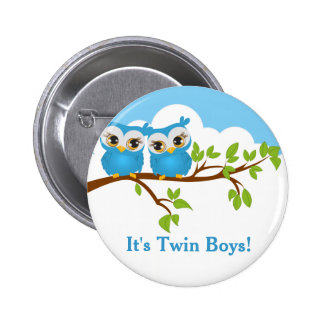 Sweet Twins Owls Boy Baby Button Pins