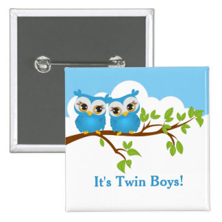 Sweet Twins Owls Boy Baby Button Pin