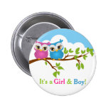 Sweet Twins Owls Boy Girl Baby Button
