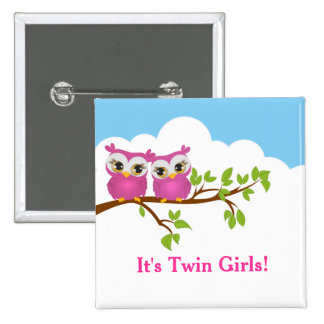 Sweet Twins Owls Girl Baby Button Button