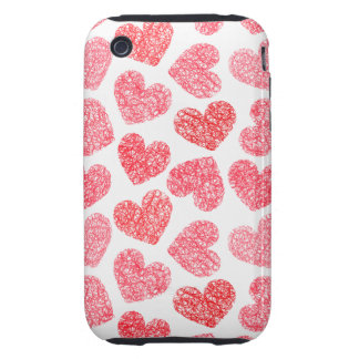 Sweet unique love hearts in red and white iPhone 3 tough case