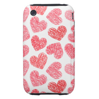 Sweet unique love hearts in red and white tough iPhone 3 covers