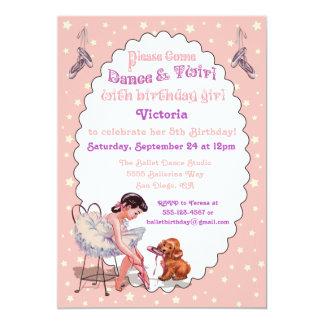 Sweet Vintage Ballerina Ballet Birthday Party 13 Cm X 18 Cm Invitation Card