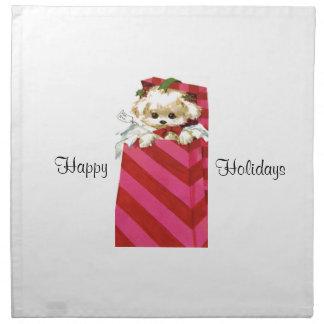 Sweet Vintage Christmas Puppy Bichon Lhasa Maltese Napkin