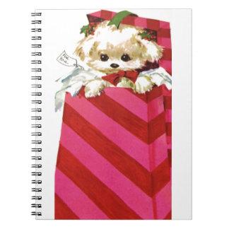 Sweet Vintage Christmas Puppy Bichon Lhasa Maltese Notebooks