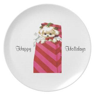 Sweet Vintage Christmas Puppy Bichon Lhasa Maltese Plate