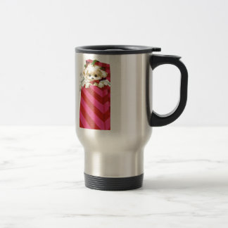 Sweet Vintage Christmas Puppy Bichon Lhasa Maltese Travel Mug