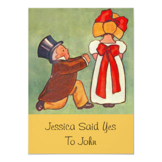 "Sweet Vintage Engagement Announcement Invitations 4.5"" X 6.25"" Invitation Card"
