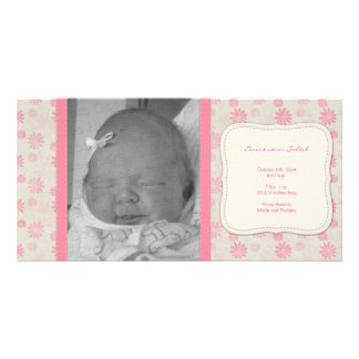 Sweet Vintage Floral Birth Announcement Card