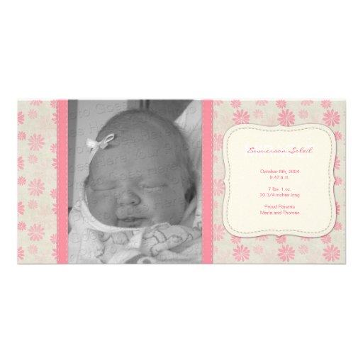 Sweet Vintage Floral Birth Announcement Custom Photo Card