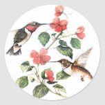 Sweet Vintage Floral Hummingbirds Pair Round Sticker