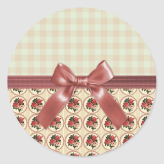 Sweet Vintage Shabby Chic Roses Floral Round Sticker