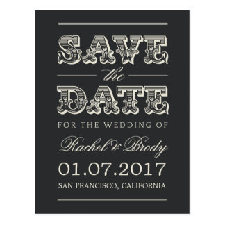 Sweet Vintage Wedding Save The Date - Charcoal Postcard