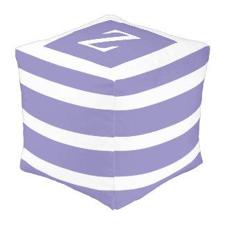 Sweet Violet and White Stripe Monogram Pouf