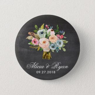 Sweet Watercolor Bouquet - Chalkboard | Button