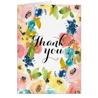 Sweet Watercolor Floral Thank you Note Card