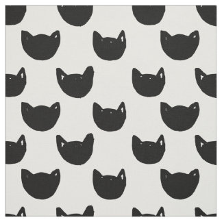 Sweet watercolor hand drawn black cat faces fabric