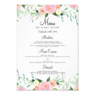 Sweet Watercolor Pink Peach Wedding Dinner Menu Card