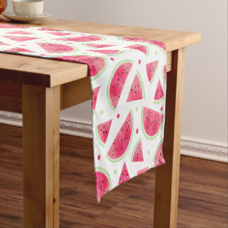 Sweet Watercolor Watermelon Pattern Short Table Runner
