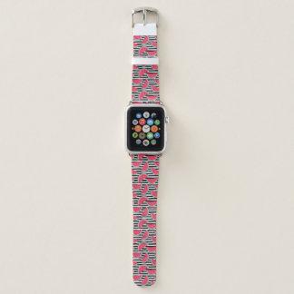 Sweet Watermelon on Stripes Black & White Pattern Apple Watch Band