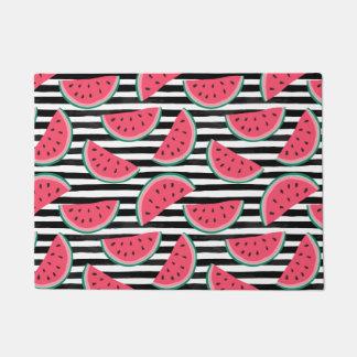 Sweet Watermelon on Stripes Black & White Pattern Doormat