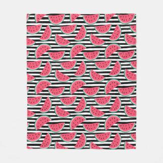 Sweet Watermelon on Stripes Black & White Pattern Fleece Blanket